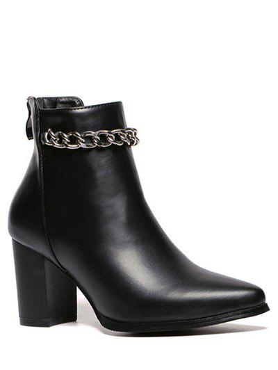 все цены на  Chains Chunky Heel Pointed Toe Ankle Boots  в интернете