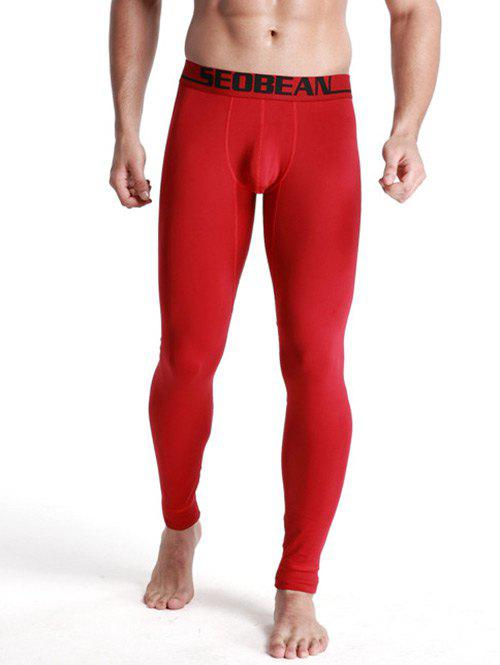 U Convex Pouch Letter Print Long Johns Pants - CLARET M