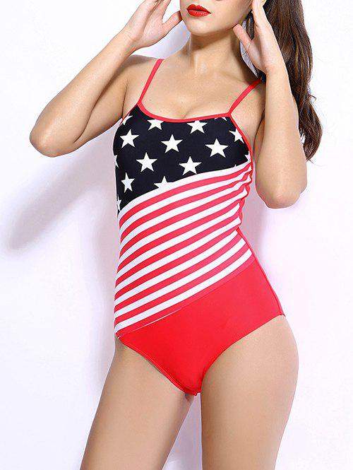 Spaghetti Strap Star Stripe Flag Print Swimwear - RED 3XL