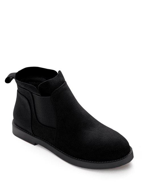 Elastic Band Suede Flat Heel Ankle Boots - BLACK 39