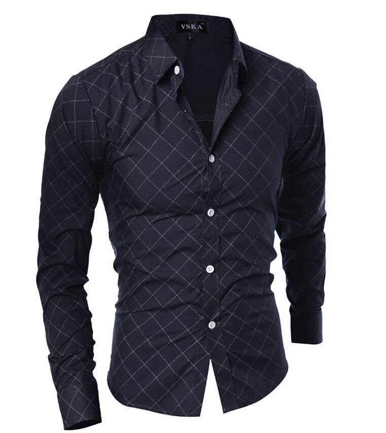 Grid Long Sleeve Men's Button Up Shirt - BLACK L