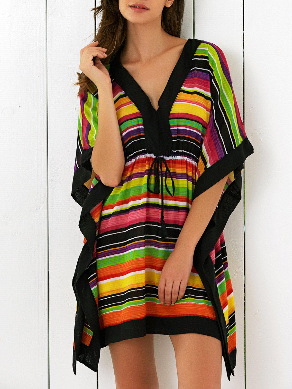 Butterfly Sleeves High Waist Striped DressWomen<br><br><br>Size: L<br>Color: COLORFUL