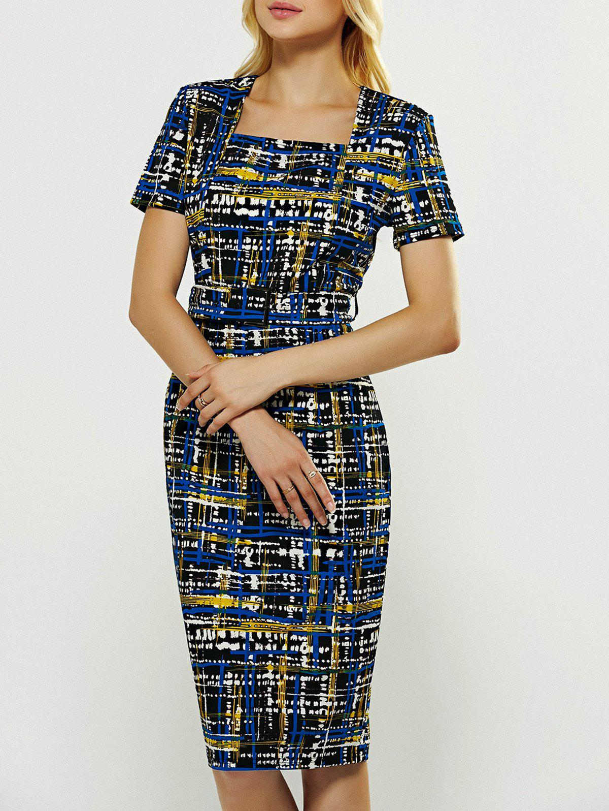 Print Bodycon Dress - multicolor S