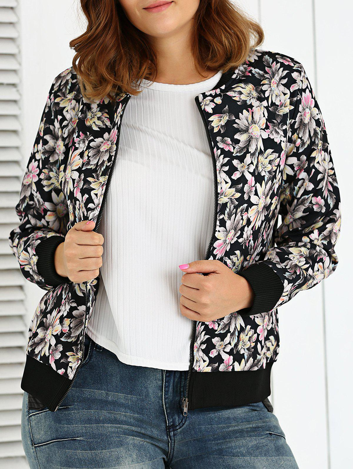 Plus Size Floral Jacket - BLACK 3XL