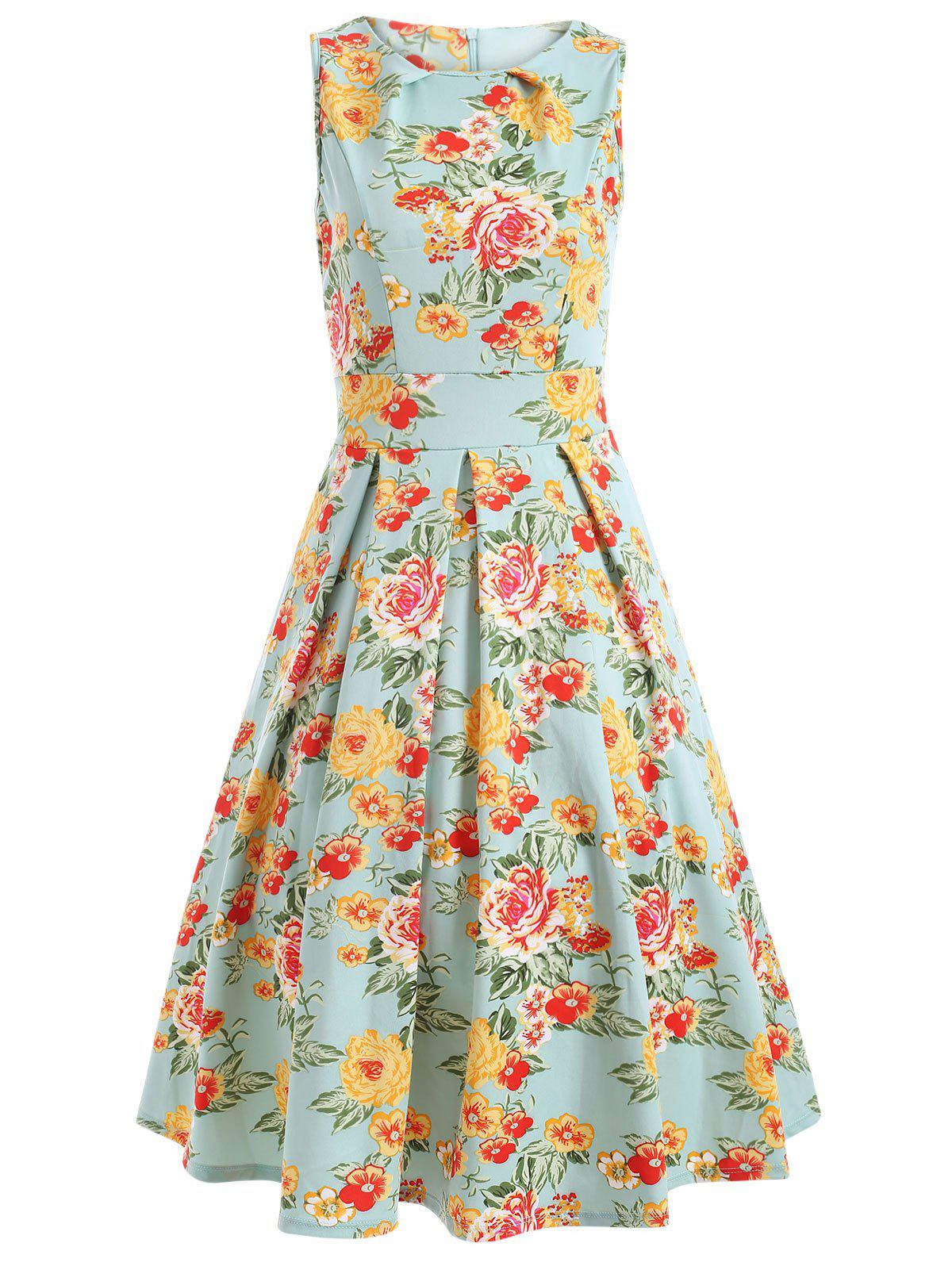 Sleeveless Floral Print A Line Vintage Tea Dress - FLORAL L