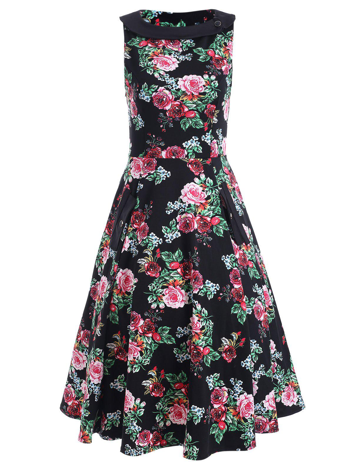 Sleeveless Print A Line Dress - FLORAL L