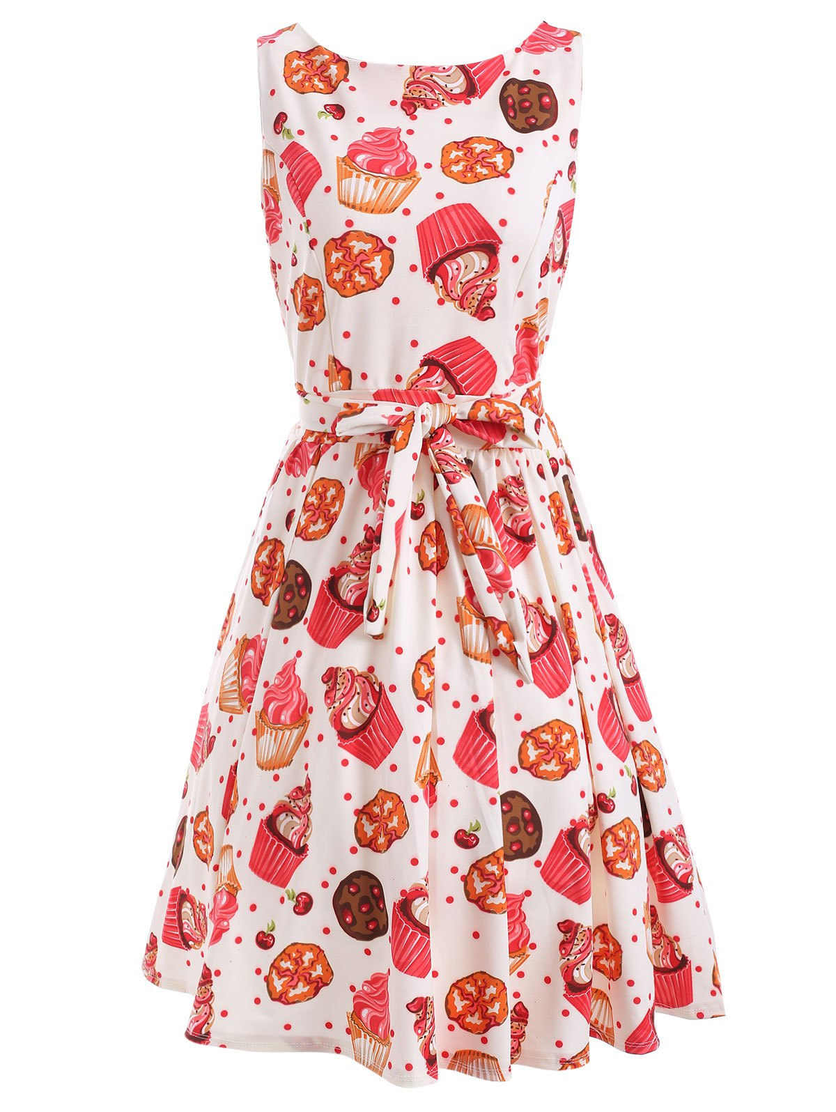 Front Tied Print A Line Dress - WHITE L
