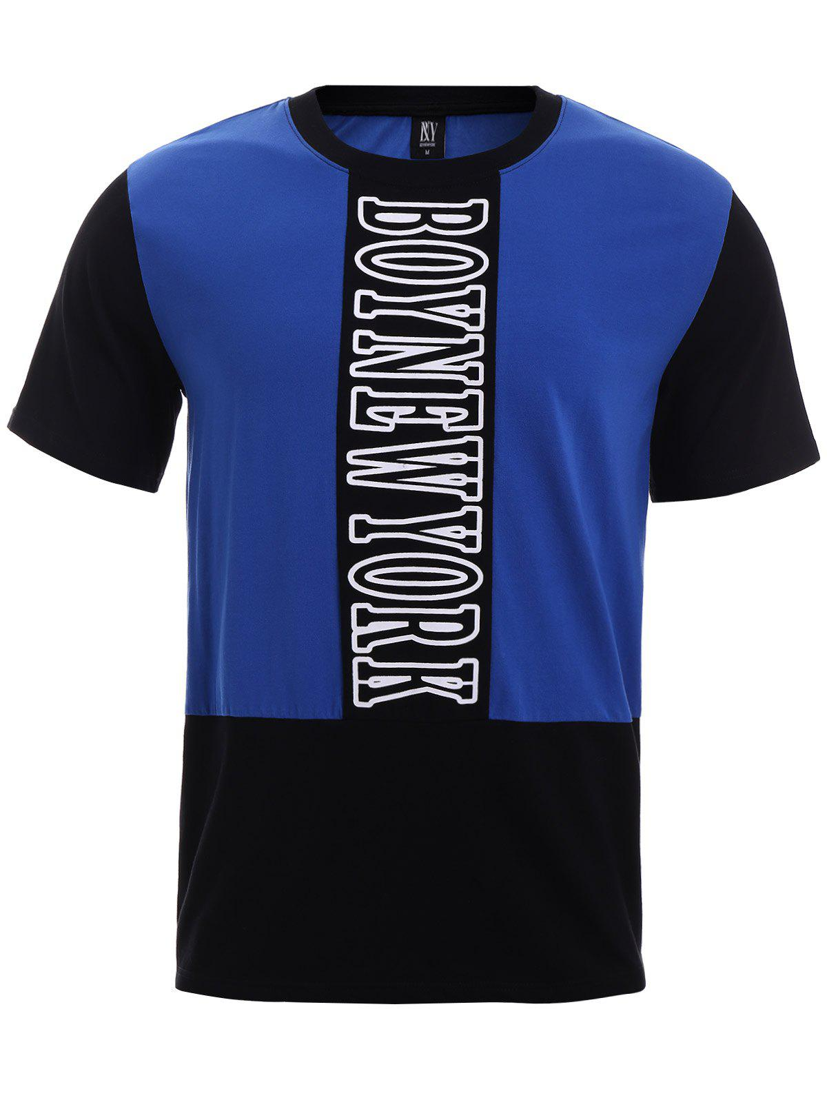 BoyNewYork Color Block Short Sleeves T-Shirt - BLUE/BLACK XL