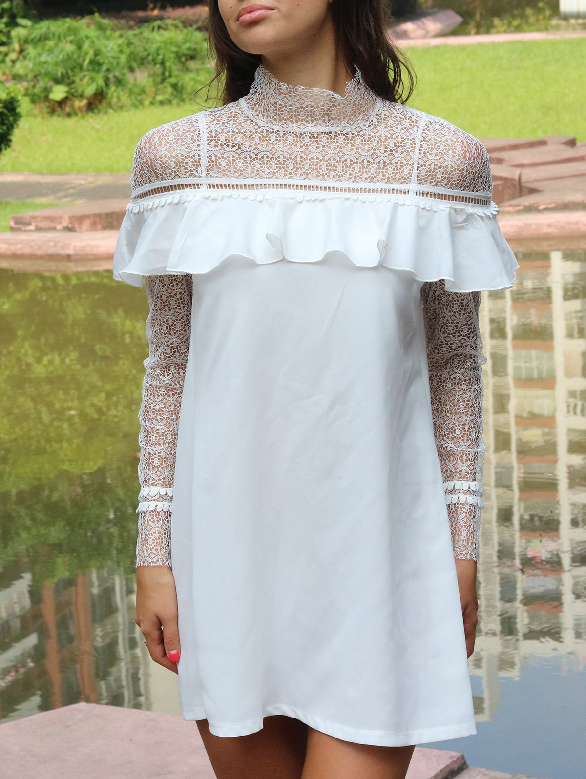 Lace Flounce Splicing Long Sleeve Dress - WHITE XL