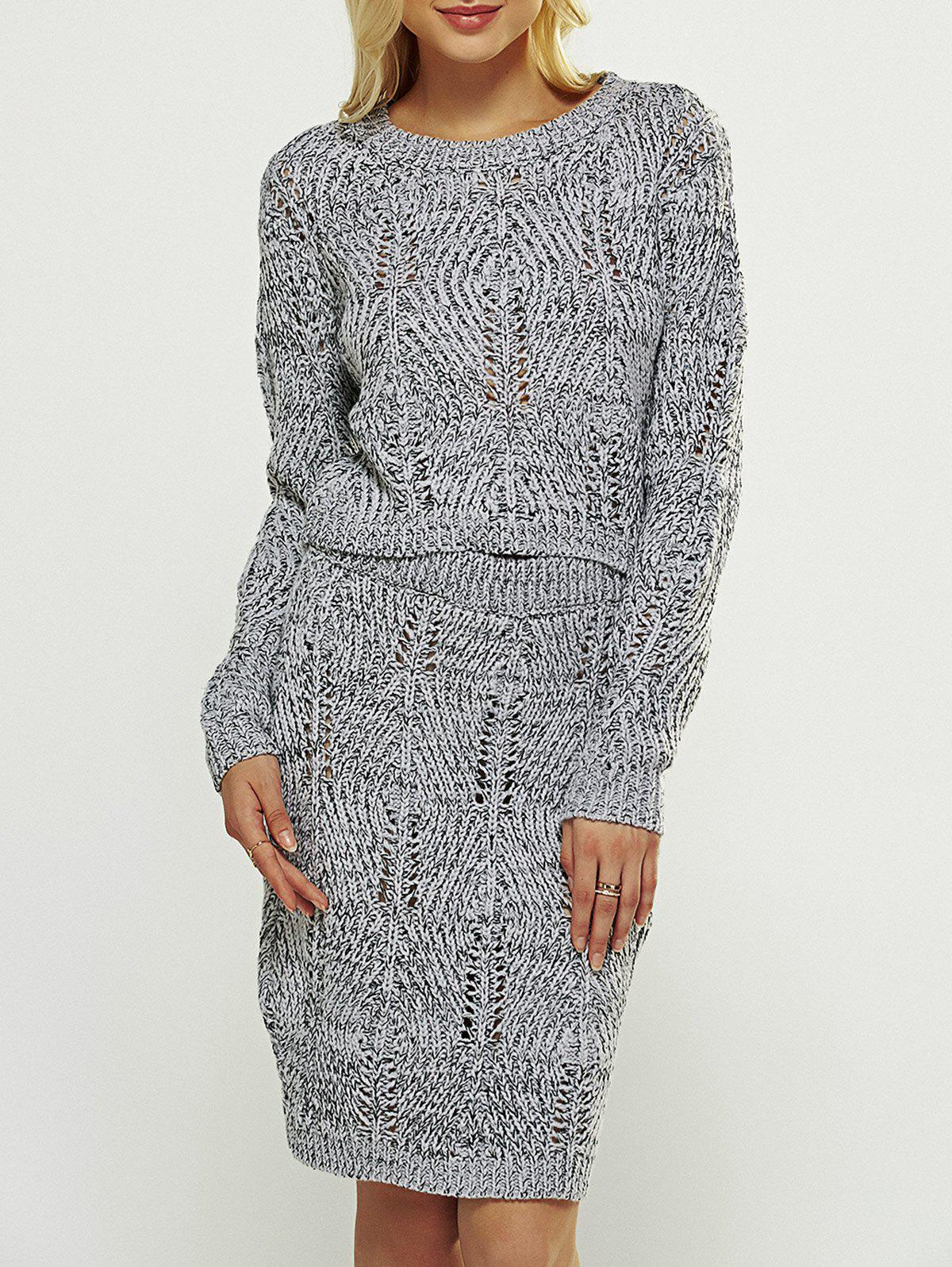Fitting Cut Out Sweater and High Waist Bodycon Skirt - ONE SIZE GRAY