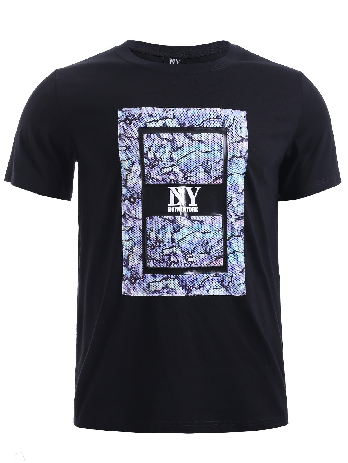 BoyNewYork Camo PU Leather Applique T-Shirt - BLACK XL