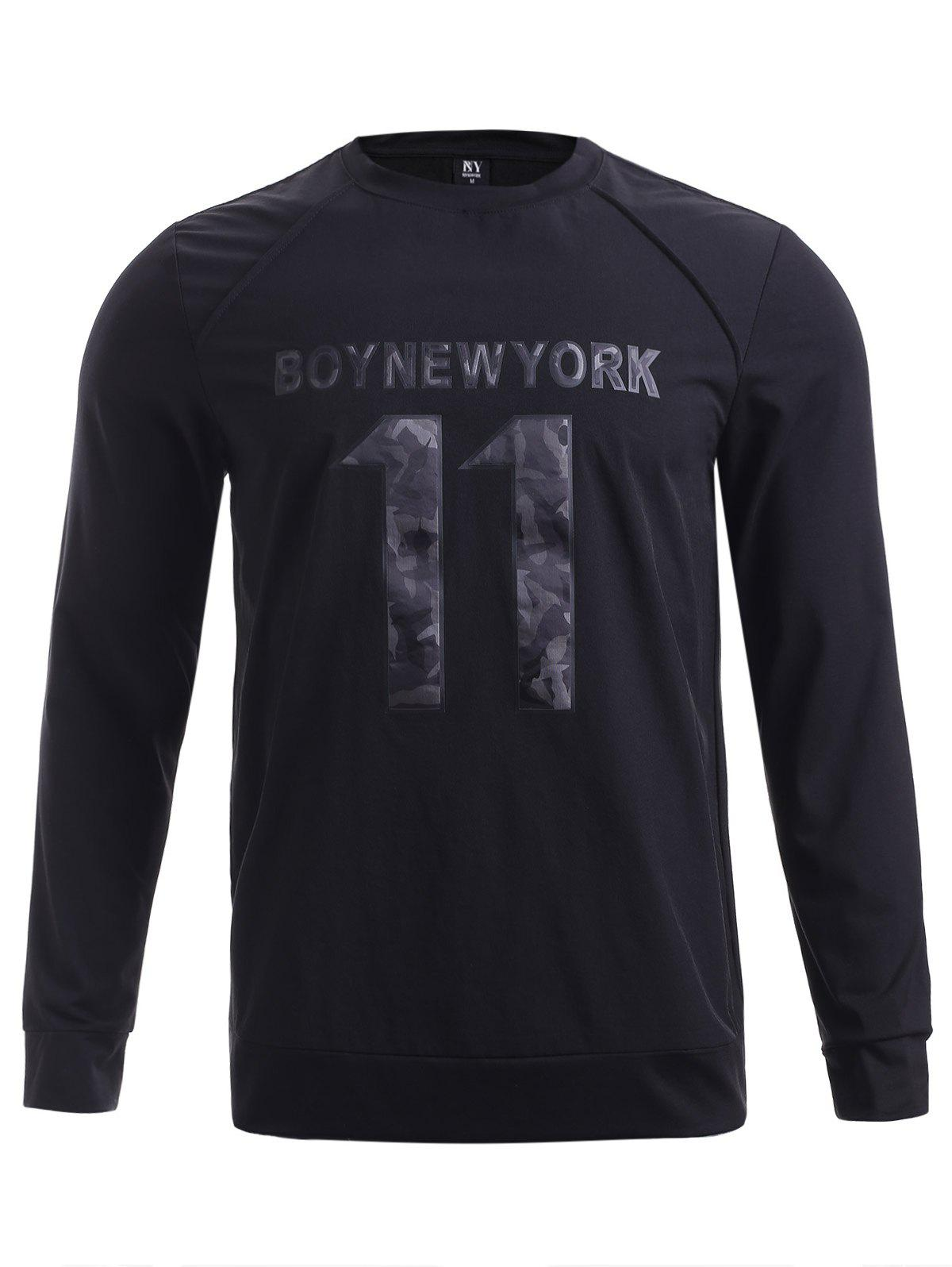 BoyNewYork Round Neck Number Printed Spliced Design Sweatshirt - BLACK XL