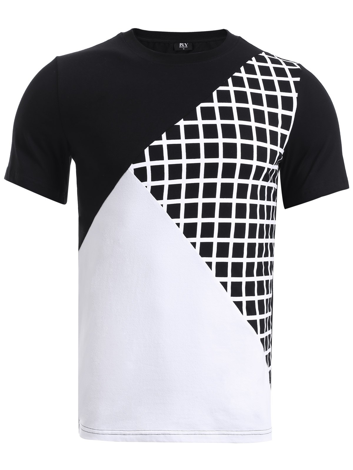 BoyNewYork Color Block Plaid Spliced Short Sleeve T-Shirt - COLORMIX XL