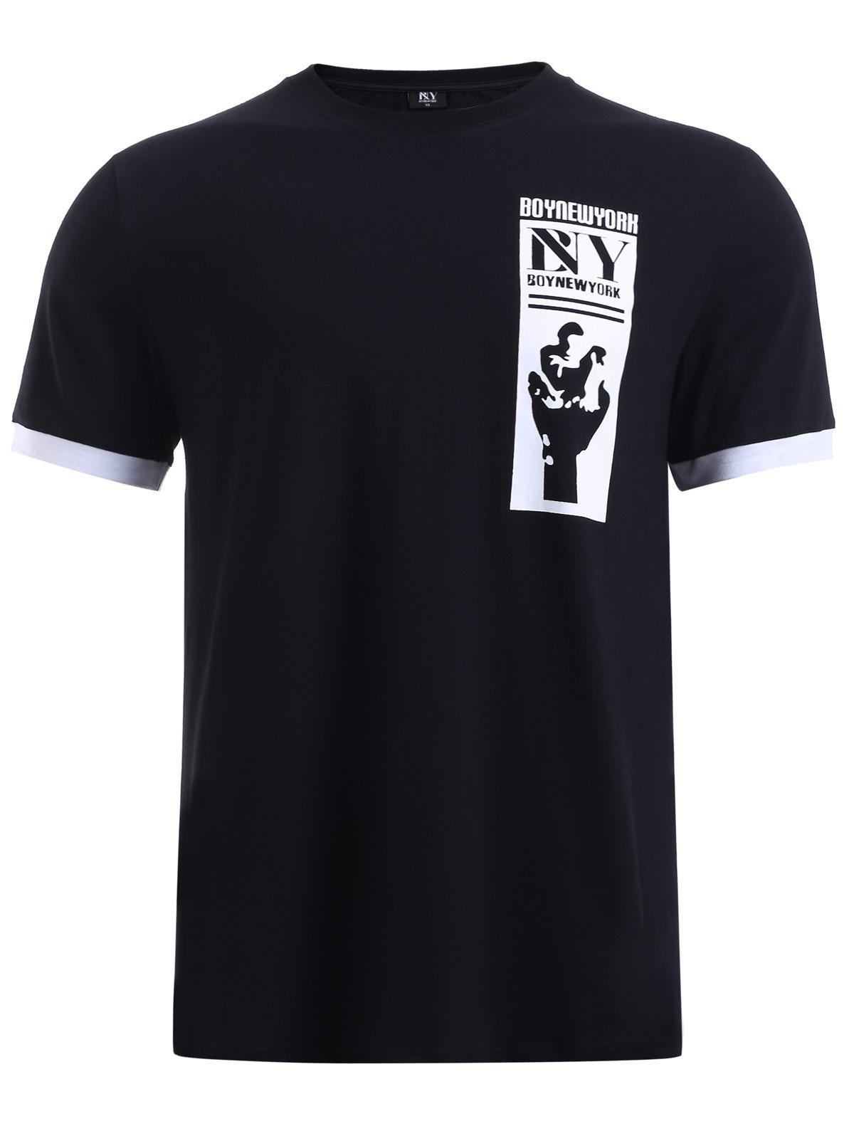 BoyNewYork Striped Braid Purfled Cuffs T-Shirt - BLACK XL