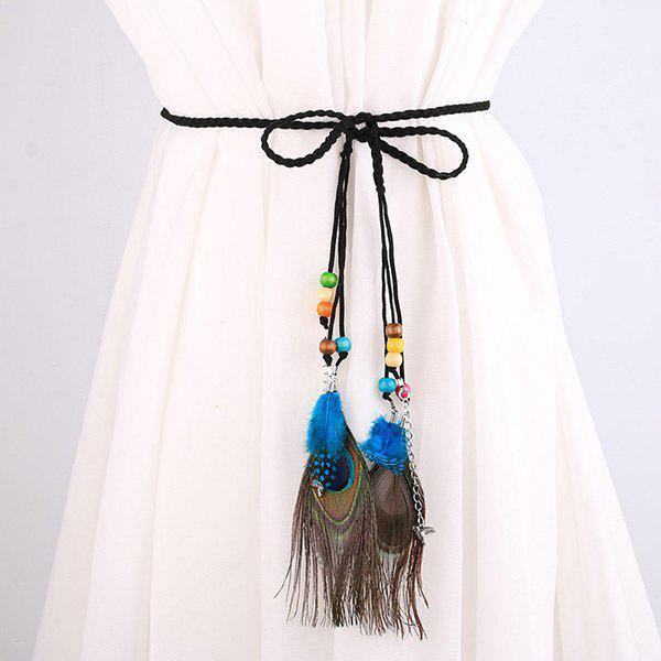 Southeast Asia Style Peacock Feather Pendant Waist Rope