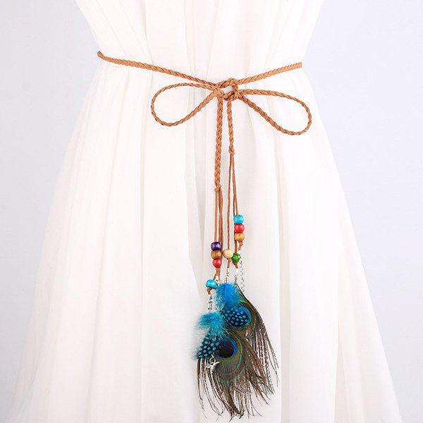 Southeast Asia Style Peacock Feather Pendant Waist RopeAccessories<br><br><br>Color: BROWN