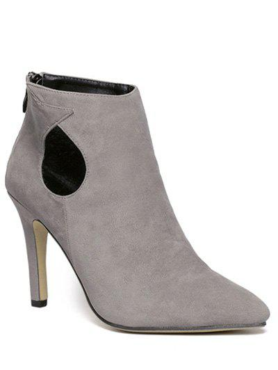 Cut Out Pointed Toe Stiletto Heel Ankle Boots