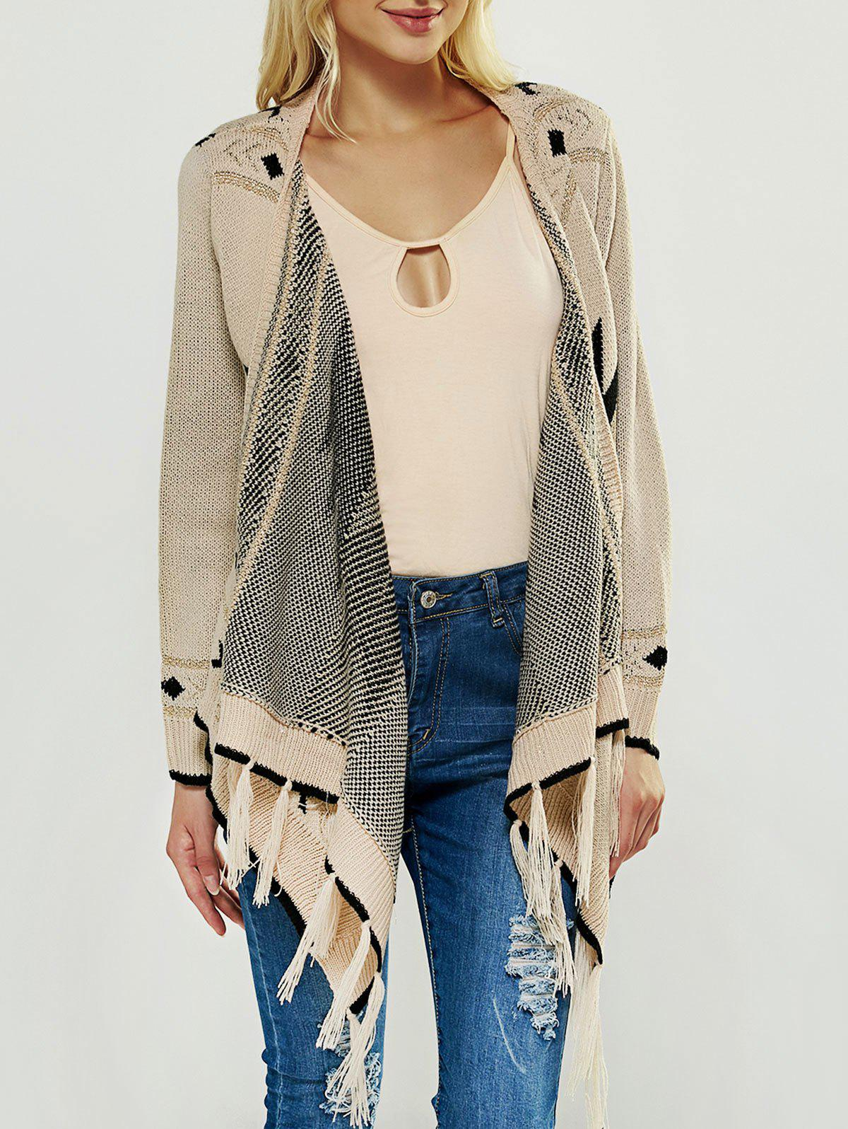 Fringed Asymmetric Collarless Long Sleeve Cardigan - APRICOT ONE SIZE