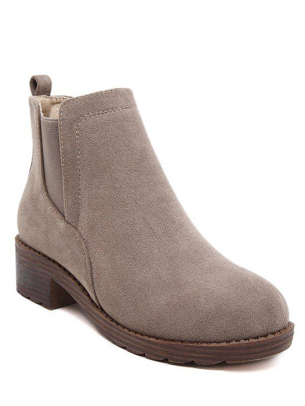 Round Toe Flock Elastic Band Ankle BootsShoes<br><br><br>Size: 37<br>Color: CAMEL