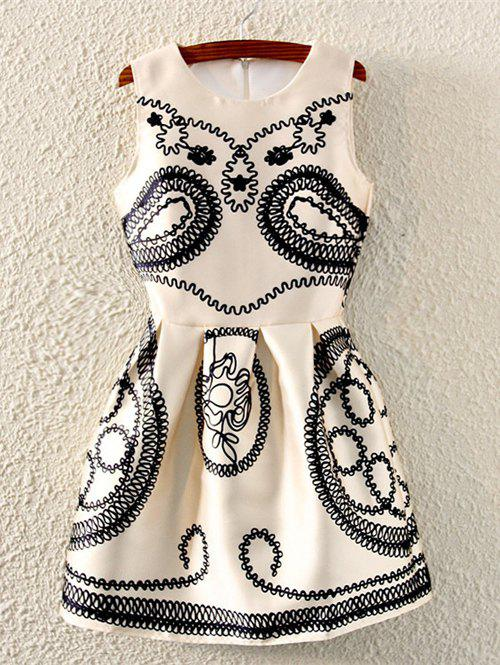 Retro Paisley Print Sleeveless Fit and Flare Dress - BEIGE ONE SIZE
