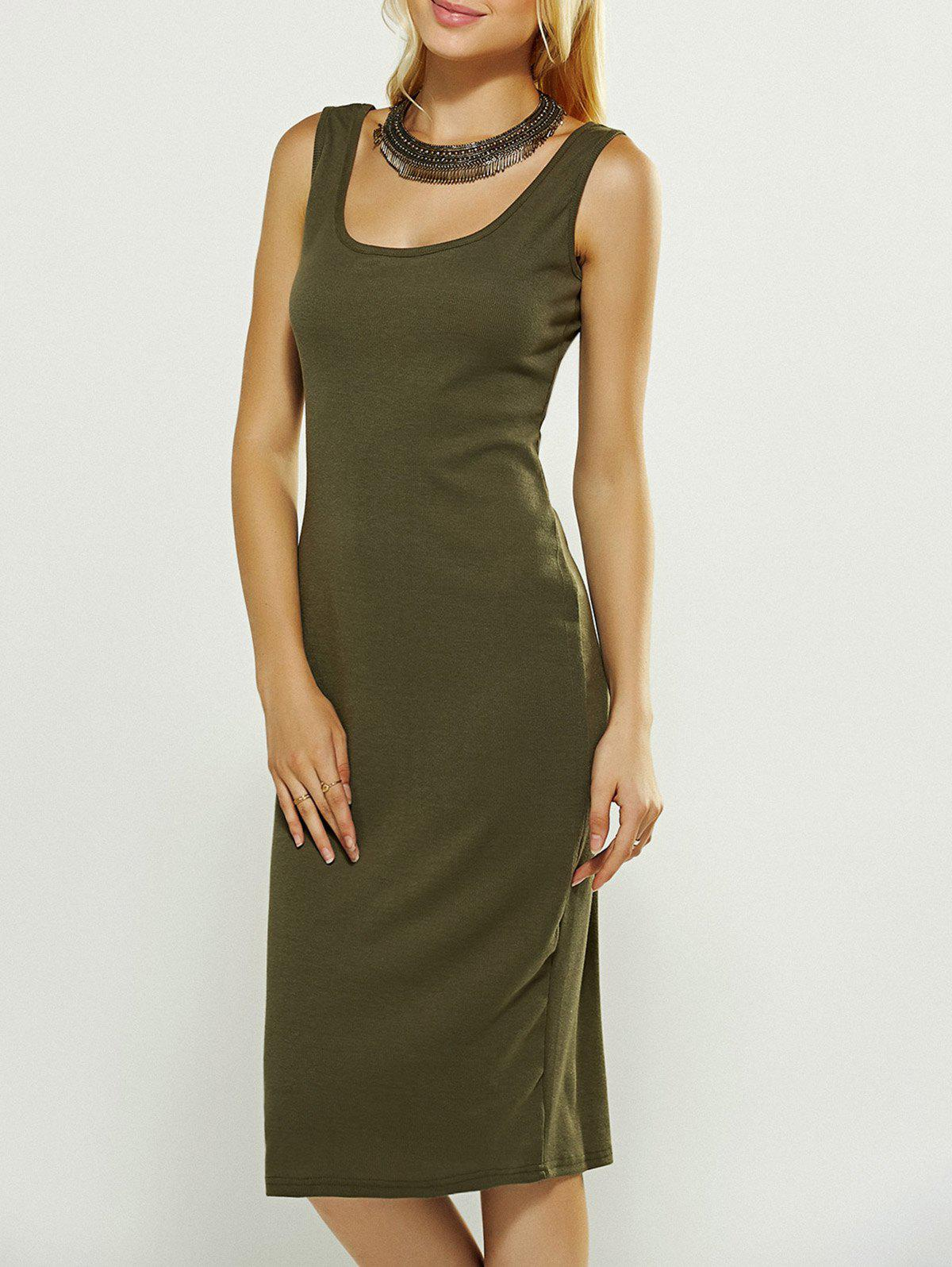 Sleeveless SheathDress - BLACKISH GREEN XL