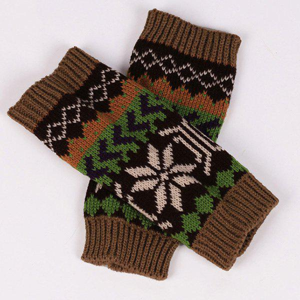 Pair of Casual Snowflake Arrow Pattern Knit Fingerless Gloves
