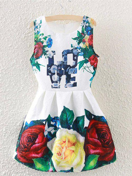 Retro Rose Print Letter Sleeveless Fit and Flare Dress - WHITE XL