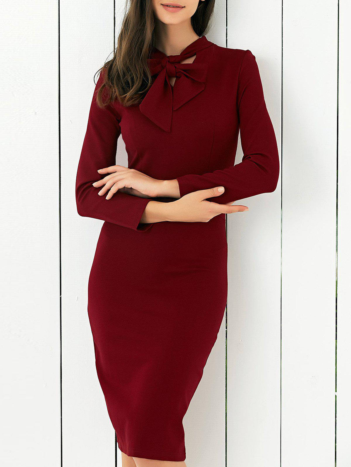 Bow Tie Concealed Zipper Bodycon Dress - WINE RED XL