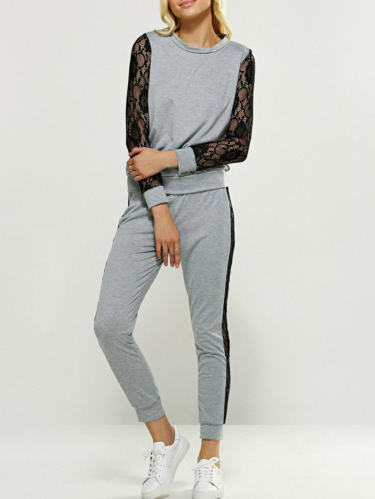Lace Patched Tee and Pants - GRAY XL