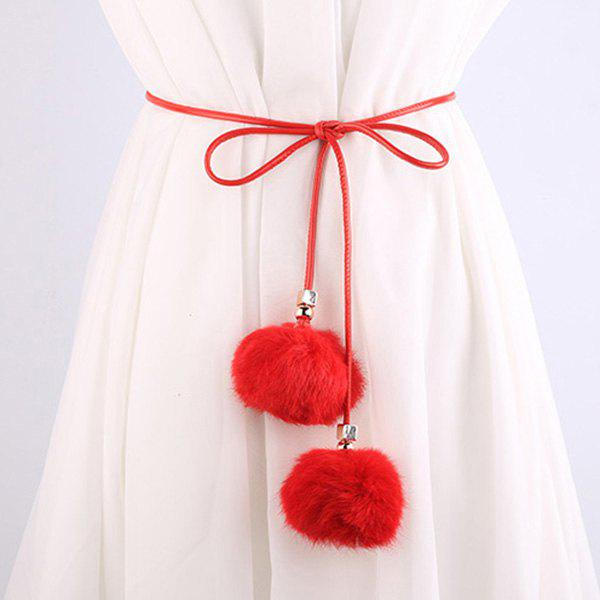 Dress Match Double Fuzzy Balls Pendant Waist Rope - RED