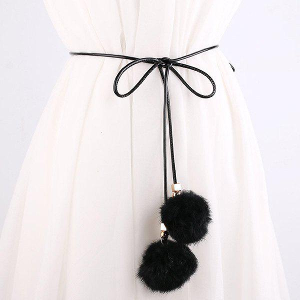 Match Dress Double Fuzzy taille Rope Balls Pendentif - Noir