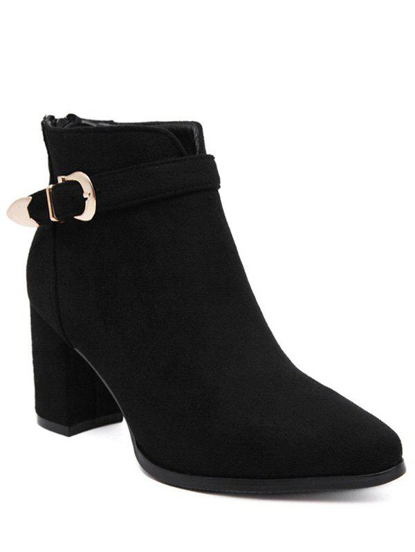 Flock Zipper Buckle Ankle Boots - BLACK 39