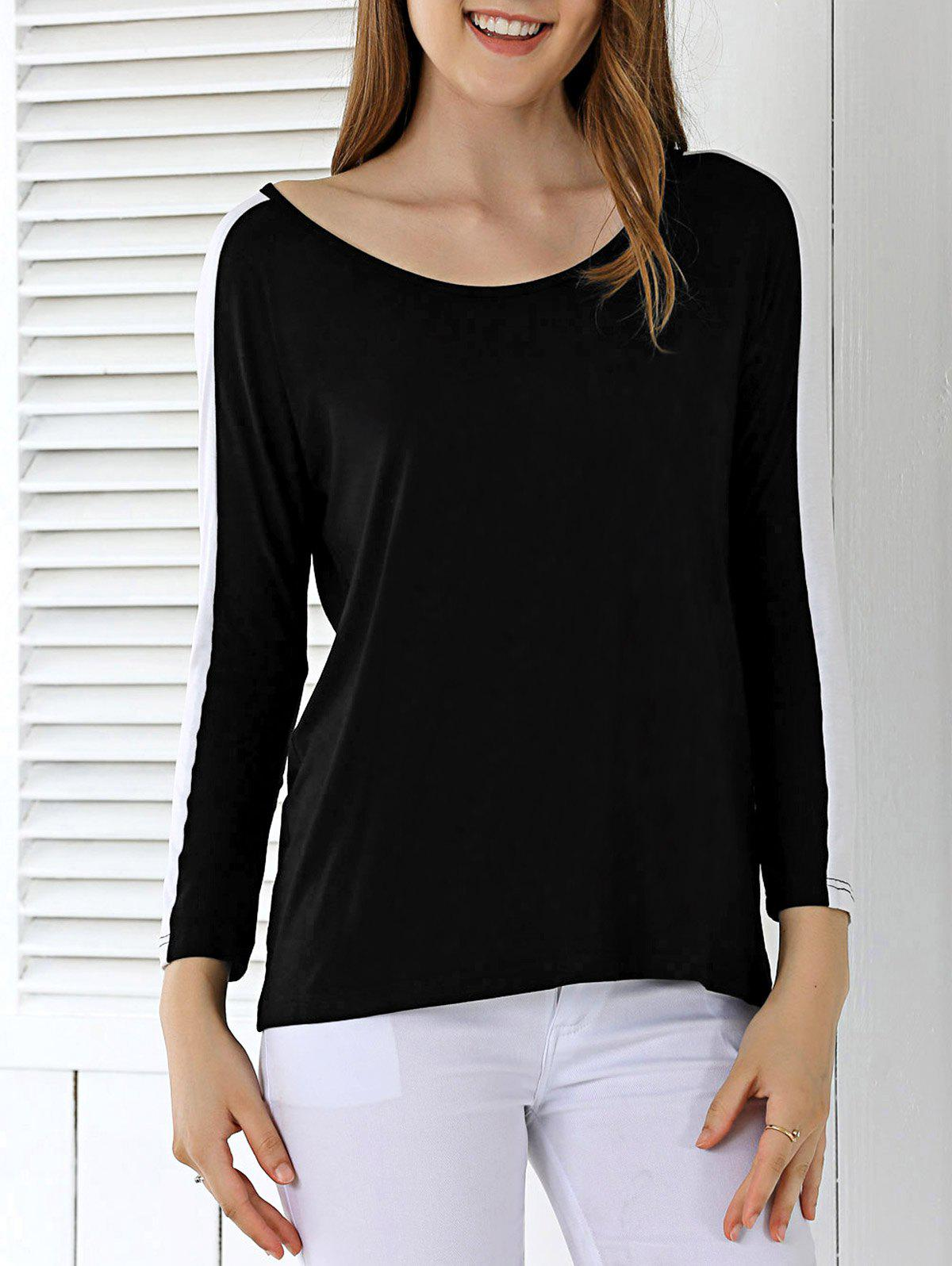 Loose Fitting Hit Color T-Shirt