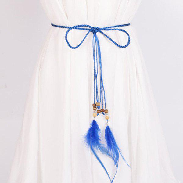 Dress Match Feather and Bead Pendant Waist Rope - SAPPHIRE BLUE