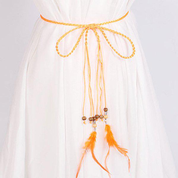 Match Dress Feather et Perle Pendentif taille Rope - Orange