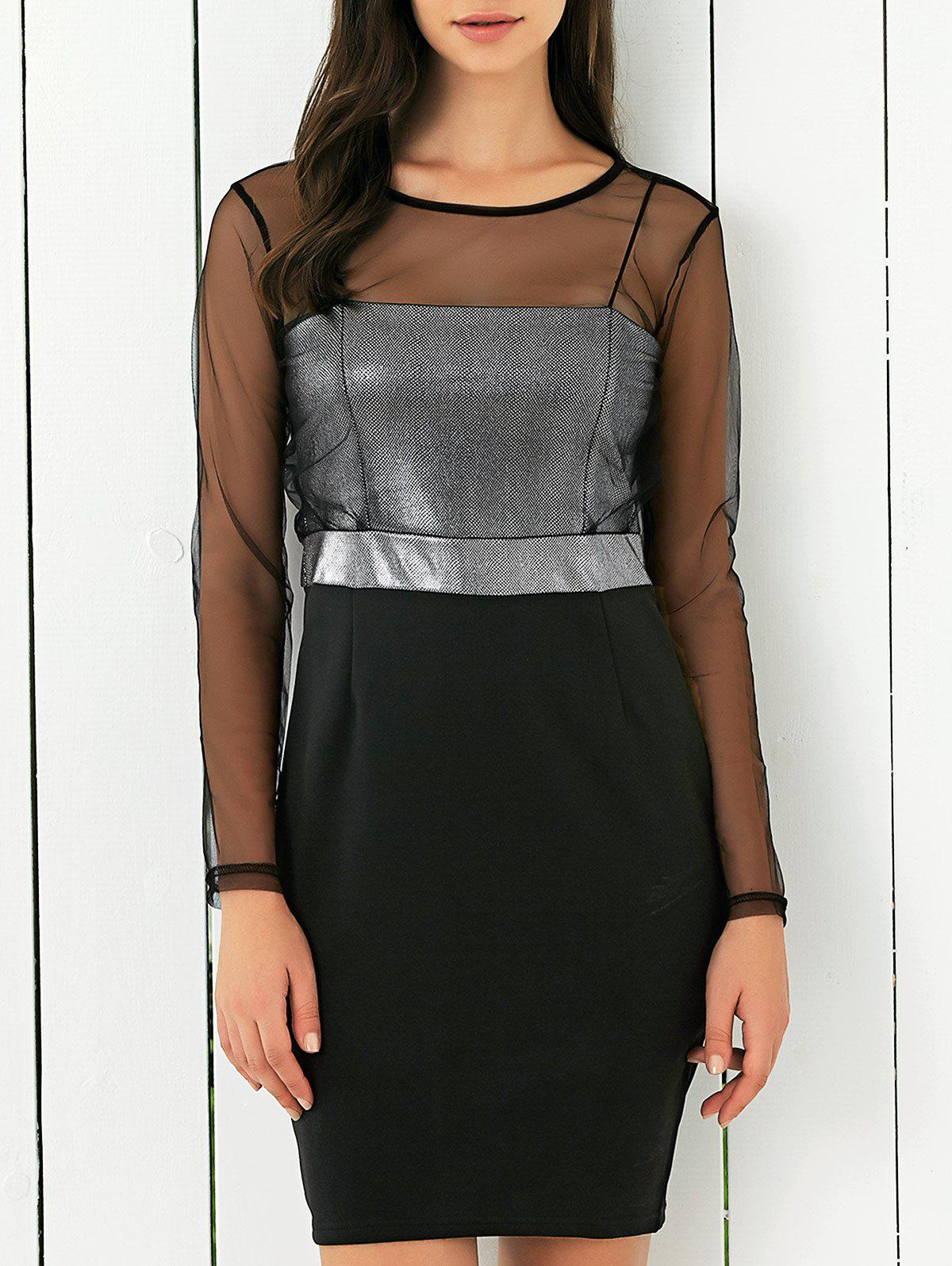 Mesh Spliced See-Through Bodycon Dress