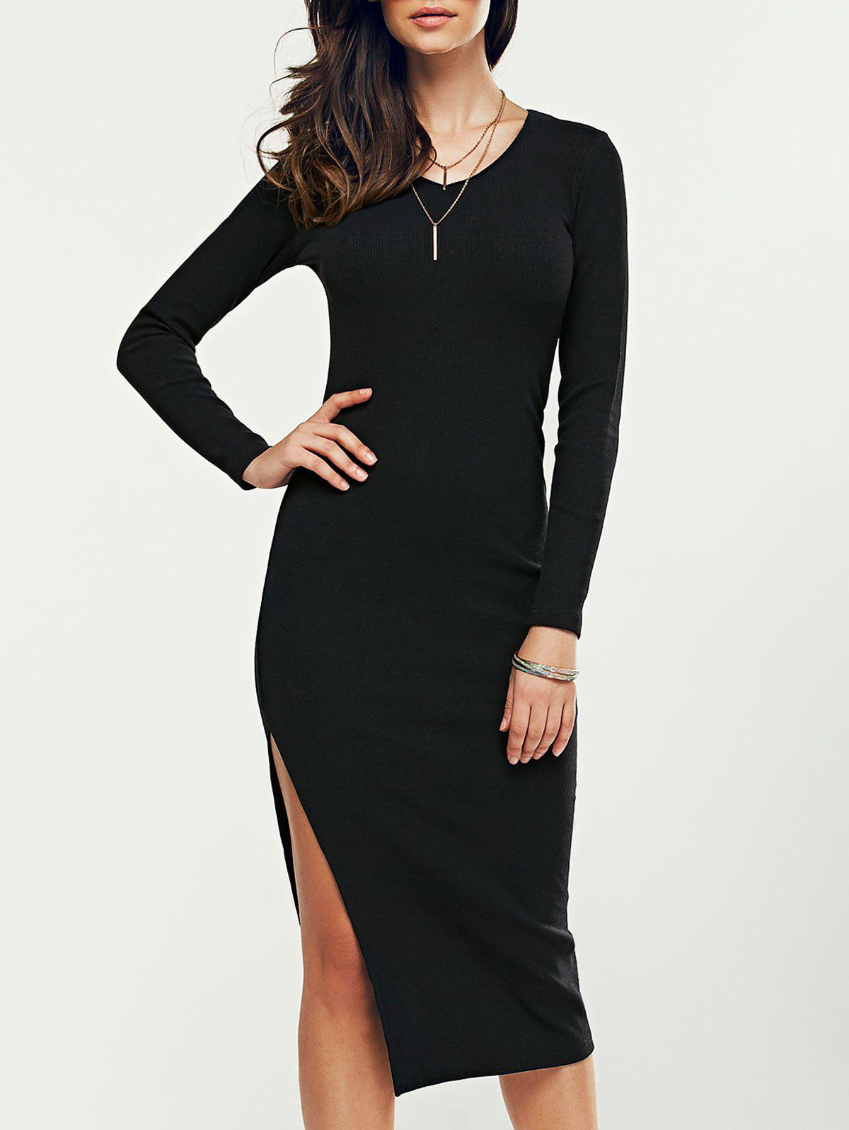 V Neck High Slit Midi Sweater DressWomen<br><br><br>Size: M<br>Color: BLACK