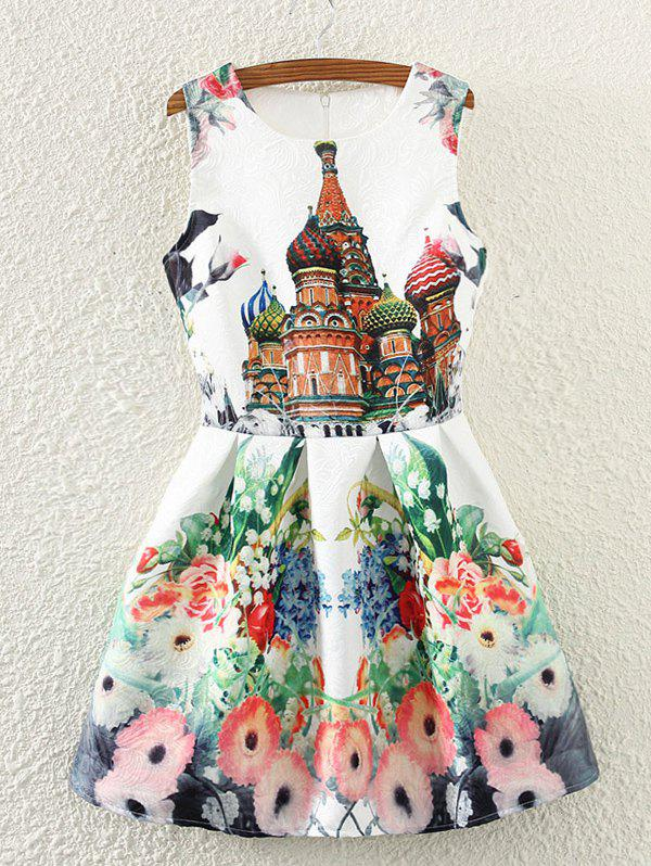 Retro Castle Floral Print Sleeveless Fit and Flare Dress
