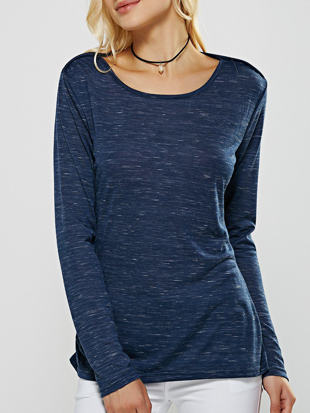 Heathered Long Sleeves Loose-Fitting T-Shirt