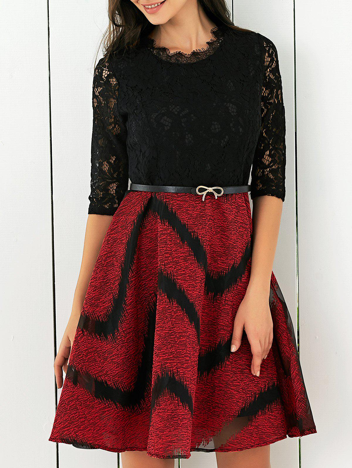 Lace Splicing Printed Belted Dress - RED XL