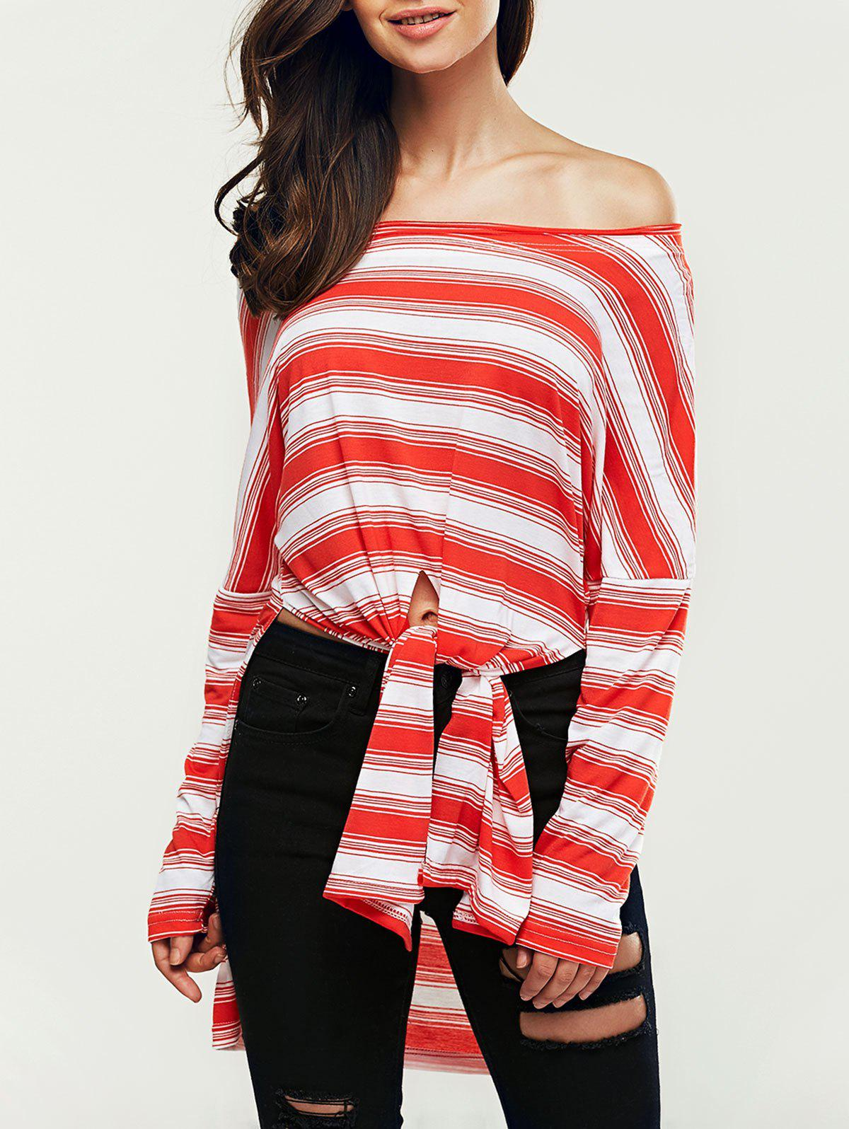 Off The Shoulder Striped Knot Front High Low T-Shirt - RED ONE SIZE