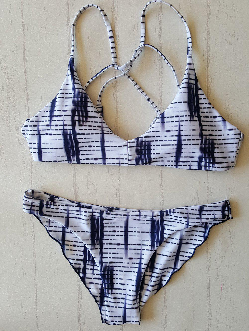 Print Strappy Bathing Suit - WHITE/BLACK S