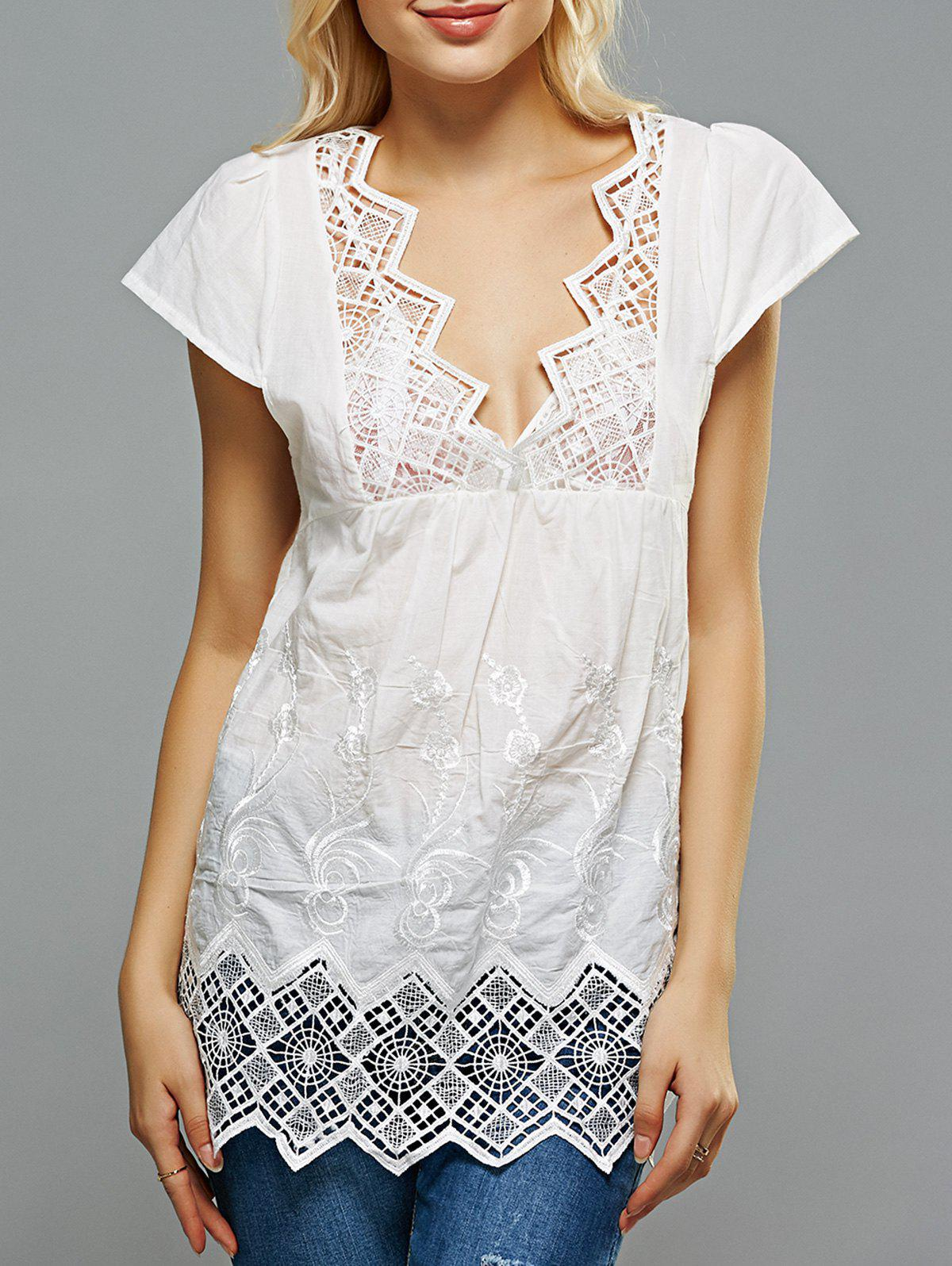 Crochet Spliced Openwork Embroidered Blouse - WHITE XL