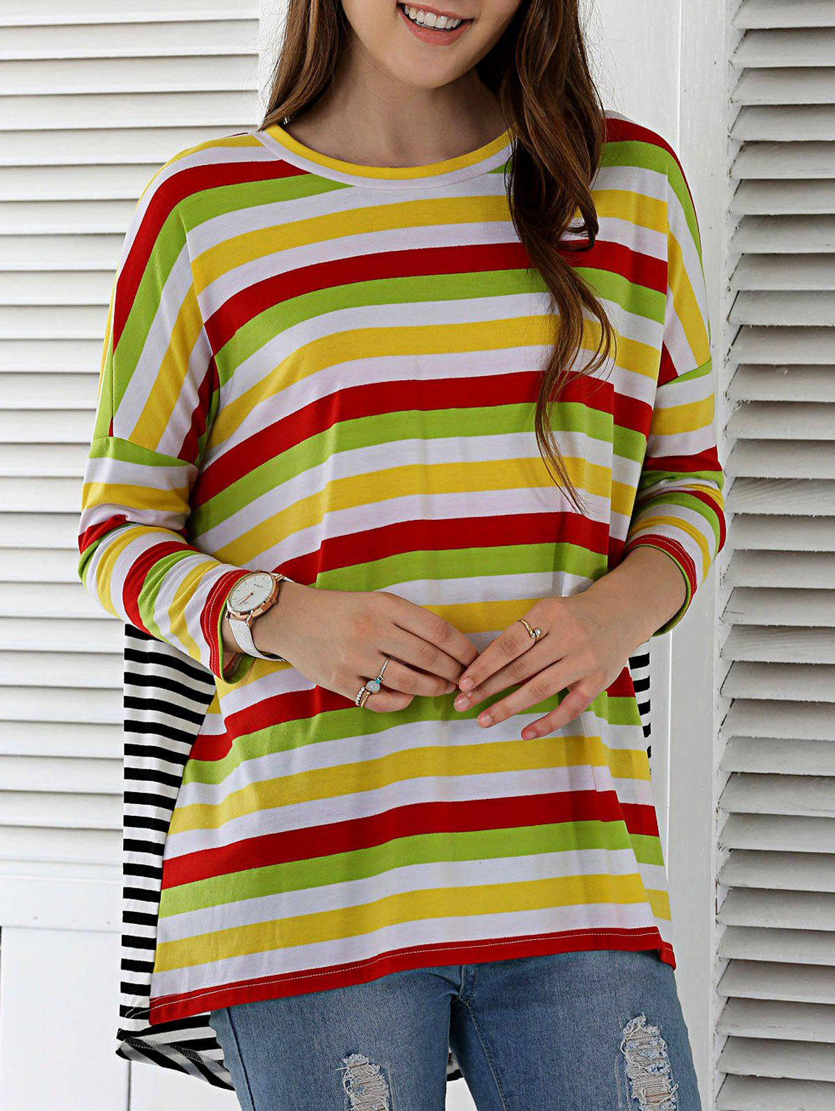 Loose Fitting Striped Spliced Blouse - COLORMIX M