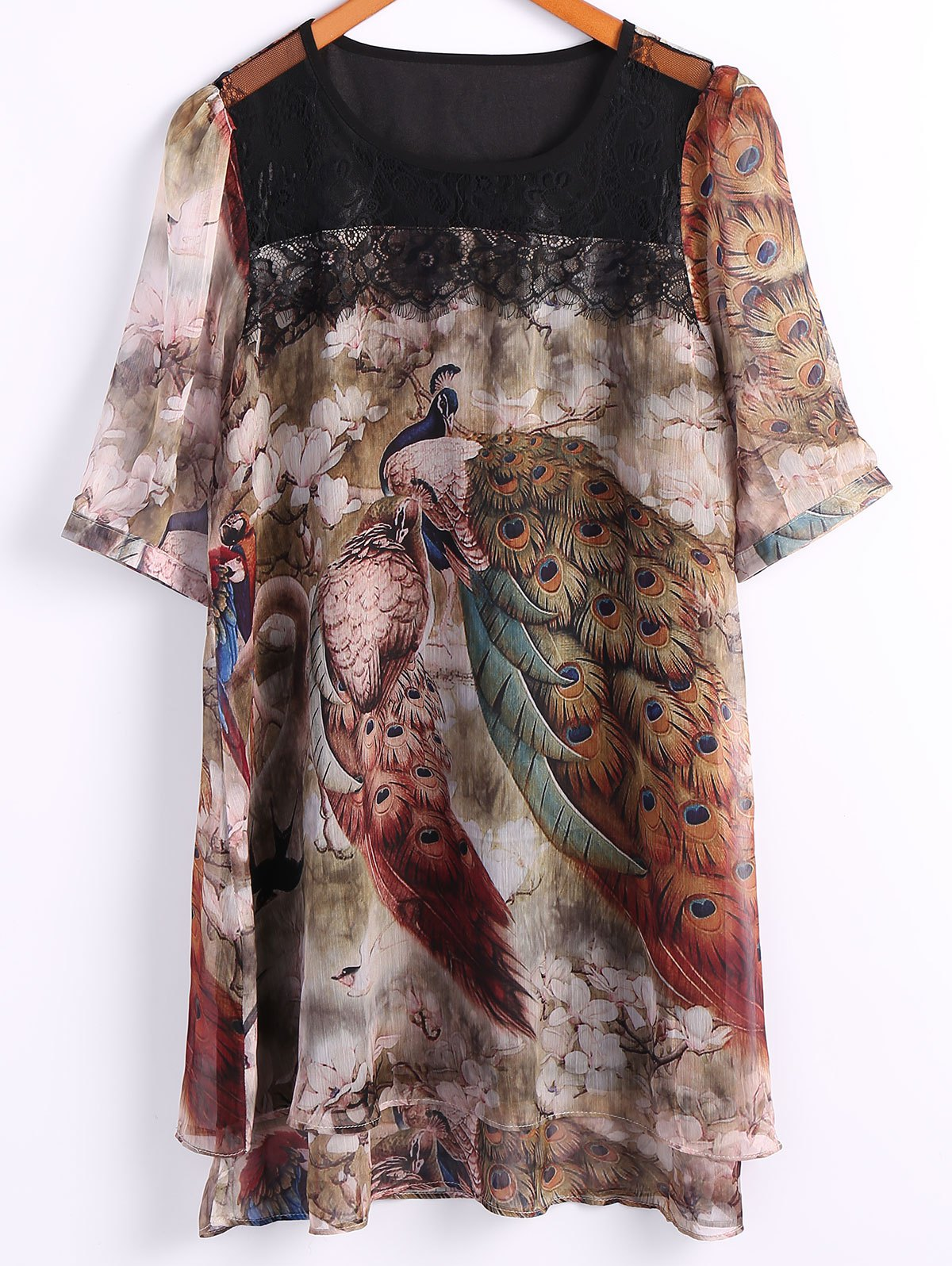 Round Neck Half Sleeve Peacock Print Dress - COLORMIX 2XL