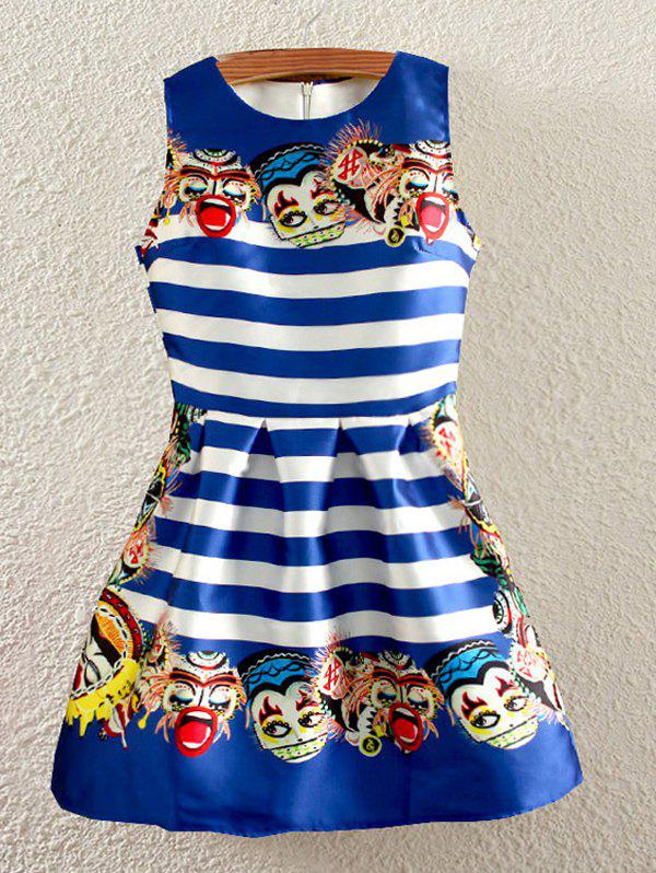 Retro Stripe Theatrical Mask Print Sleeveless Fit and Flare Dress - BLUE L