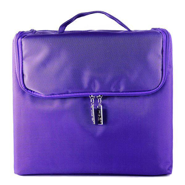 Nylon Oxford Layered Cosmetic Case - PURPLE