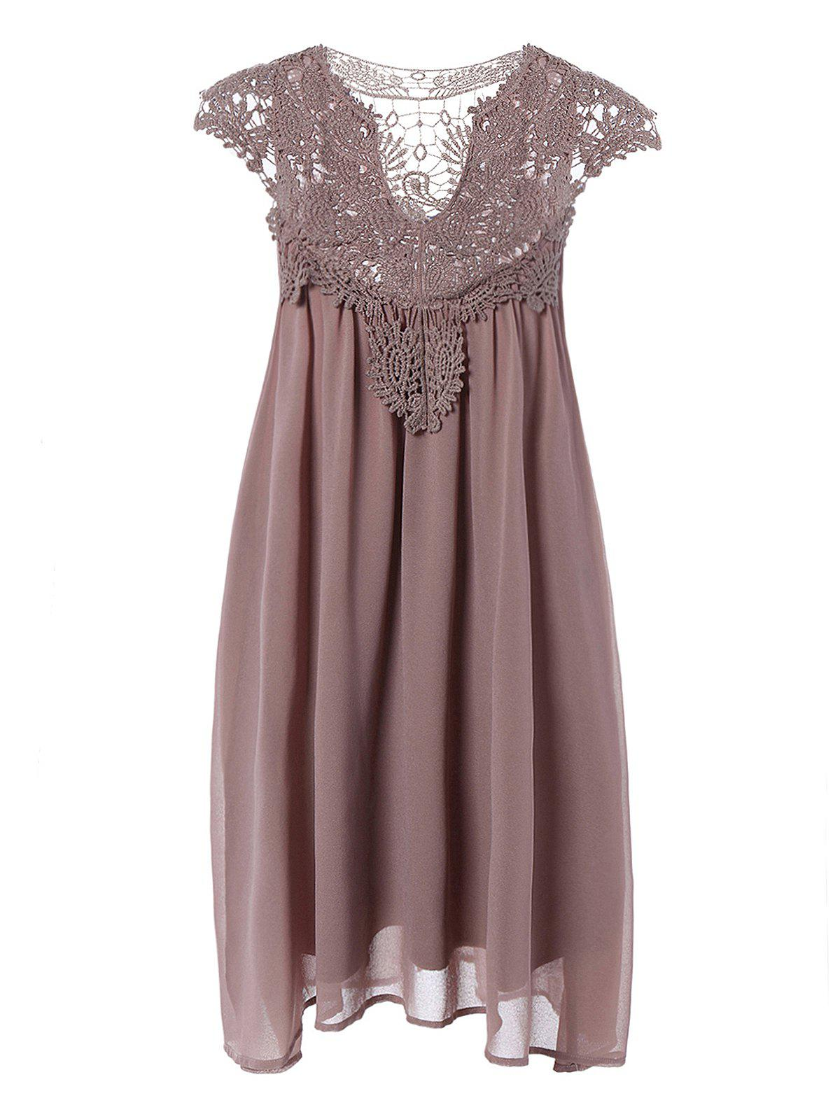 Plus Size Lace Spliced Hollow Out Dress - COFFEE 5XL