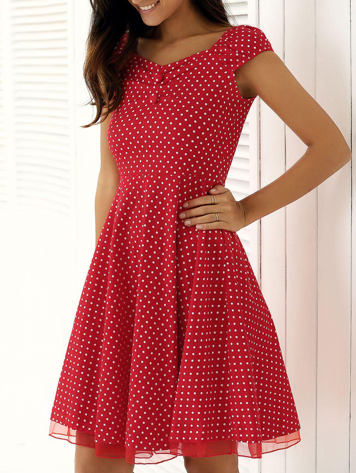 Vintage Spliced Buttoned Polka Dot Swing Dress - RED 2XL
