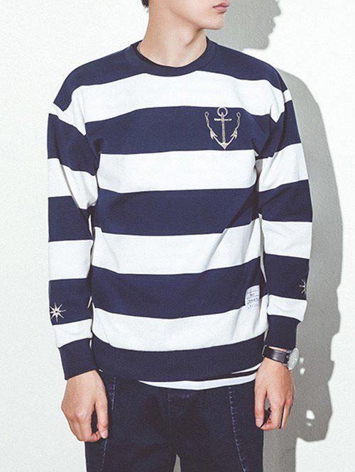 Anchor Embroidery Round Neck Long Sleeve Stripe Print Sweatshirt - XL BLUE